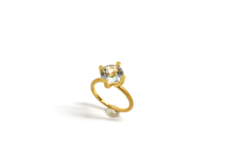Farbenspiel Ring Gelbgold mit Aquamarin