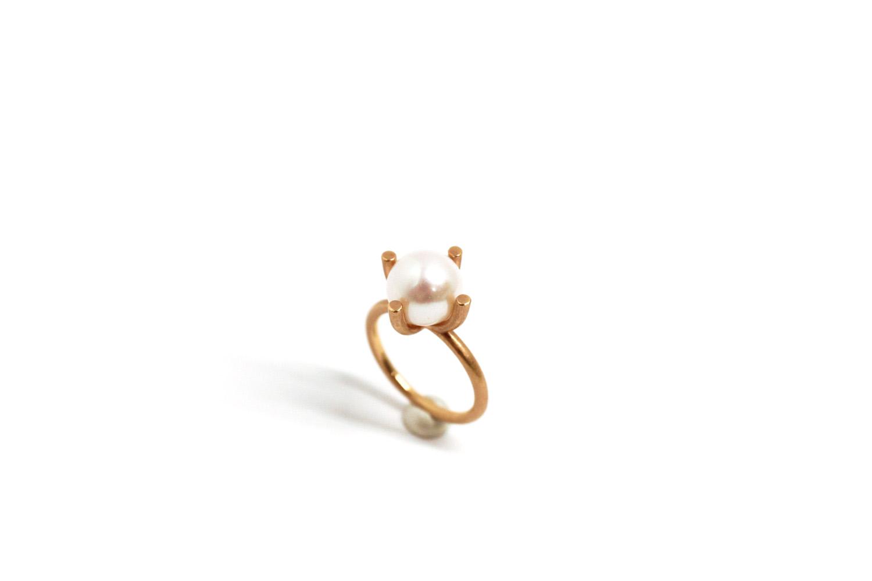 Farbenspiel Ring Roségold mit Perle